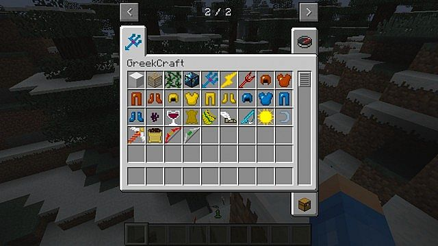 This screenshot shows clearly all of the items that you can expect to find in this modification as of yet!