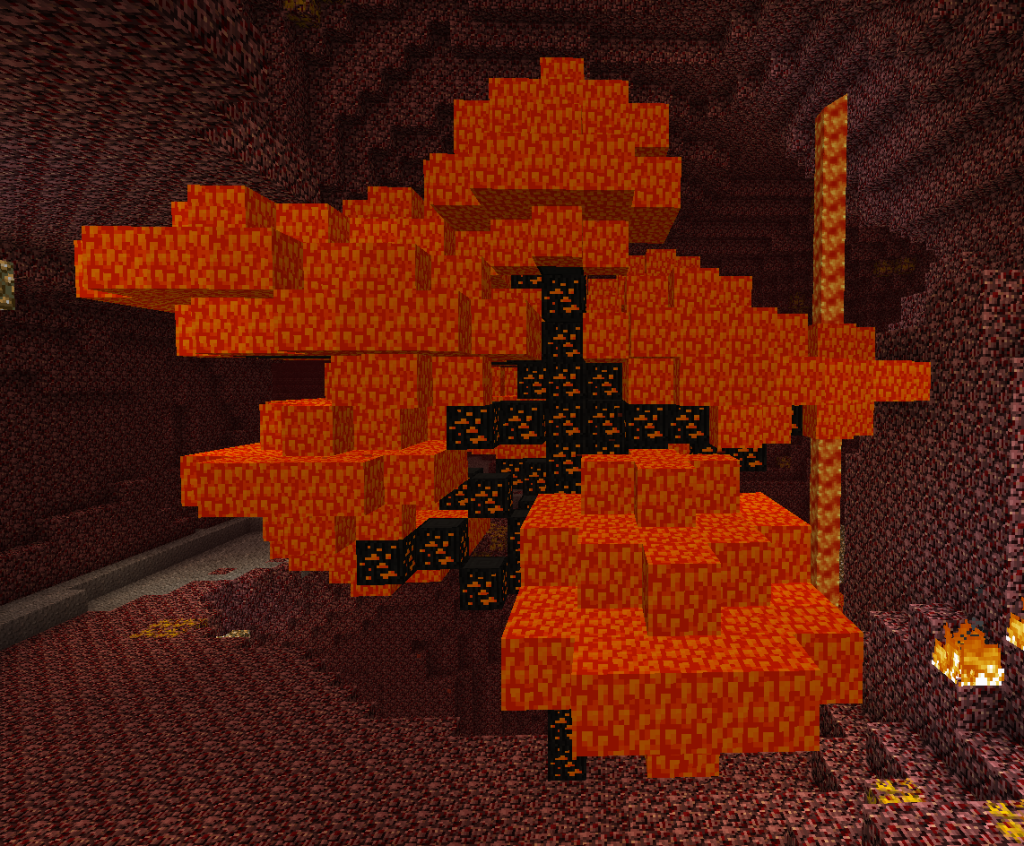 This screenshot show the new addition of the 'Fire Trees'. You can you their drops to make Nether building structures!