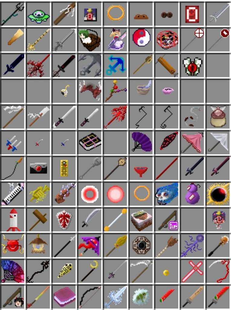 Here is a list of all of the items that you will find inside the Touhou Items Mod for Minecraft 1.6.2!